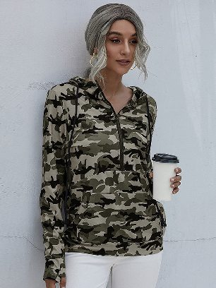 Zipper Solid Hooded Camouflage Drawstring Hoodie