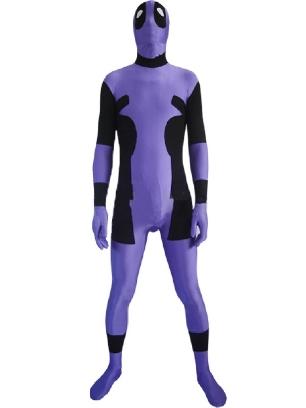 Purple and Black Deadpool Spandex Zentai Suit