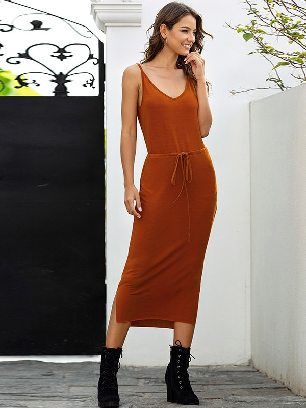 Sling V-neck Solid Color High Waist Rope Slim Dress
