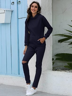 Navy blue Leisure Thickening Plus Fleece Hooded Sports Suit