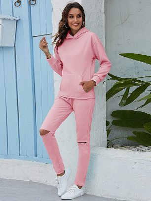 Light pink Leisure Thickening Plus Fleece Hooded Sports Suit