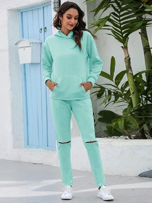 Light green Leisure Thickening Plus Fleece Hooded Sports Suit