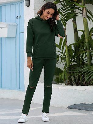 Dark green Leisure Thickening Plus Fleece Hooded Sports Suit