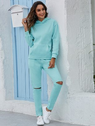 Light Blue Leisure Thickening Plus Fleece Hooded Sports Suit