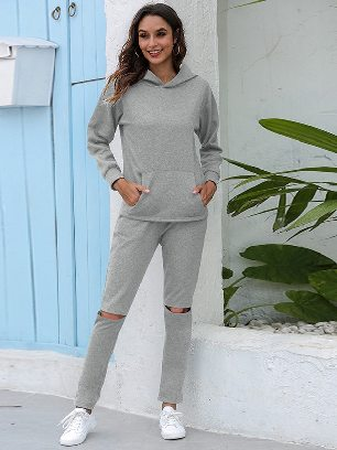 Light gray Leisure Thickening Plus Fleece Hooded Sports Suit