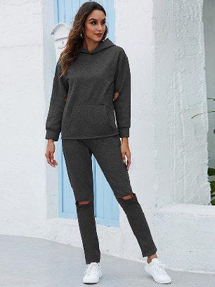 Dark gray Leisure Thickening Plus Fleece Hooded Sports Suit