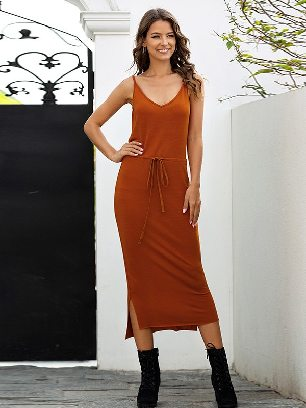 Caramel colour Sling V-neck Solid Color High Waist Rope Slim Dress
