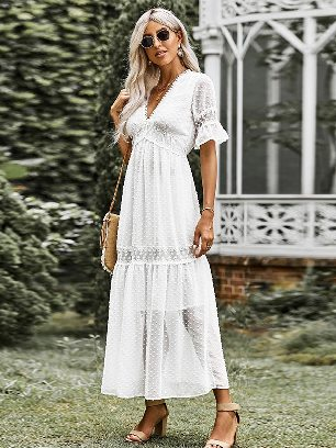 Autumn Chiffon Dress Swiss Dot Bamboo Cut Flower Lace Trim Maxi Dress
