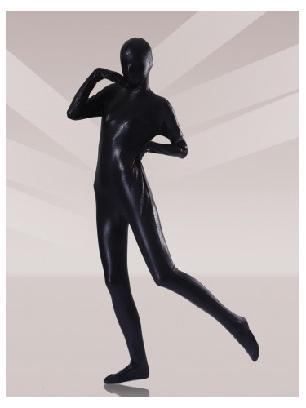 Black Zentai Costume Shiny Metallic Unisex Zentai Suit Holiday Costumes