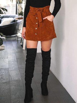 2020 Fall winter Women High Waist Stretch Pocket A-line Skirt