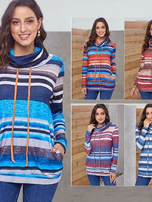 Multicolor Striped Long Sleeve Pullover Sweatshirt with Pockets