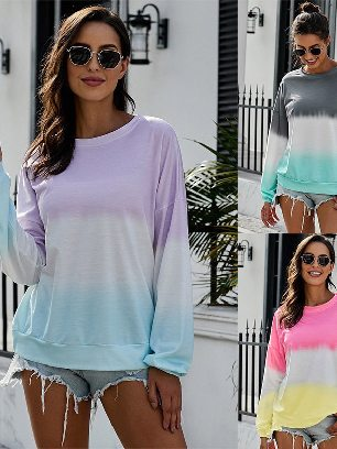 Autumn Sweater Women Color Block Tie Dye Pullover Sweatshirt