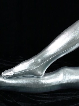 ZENTAI Silver Zentai Costume Shiny Metallic Stockings
