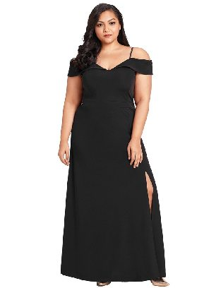 Sling Strap Off Shoulder Plus Size Gown
