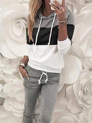 Women Long Sleeve Drawstring Colorblock Hooded Top & Pant Sweater Set