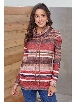 Red Multicolor Striped Long Sleeve Pullover Sweatshirt with Pockets