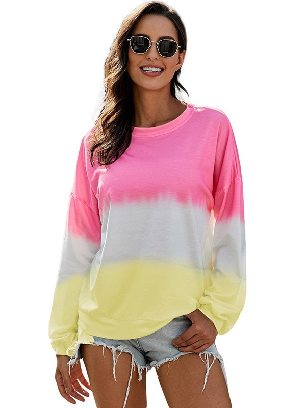 Pink Autumn Sweater Women Color Block Tie Dye Pullover Sweatshirt