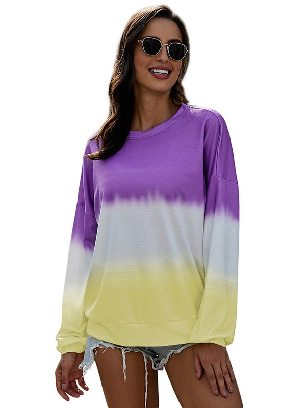 Purple printing Autumn Sweater Women Color Block Tie Dye Pullover Sweatshirt