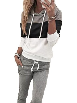 Black Women Long Sleeve Drawstring Colorblock Hooded Top & Pant Sweater Set