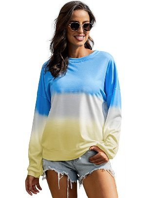 Blue Autumn Sweater Women Color Block Tie Dye Pullover Sweatshirt