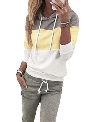Yellowish brown Women Long Sleeve Drawstring Colorblock Hooded Top & Pant Sweater Set