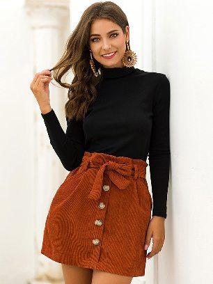 Caramel colour 2020 Fall winter Women High Waist Stretch Pocket A-line Skirt