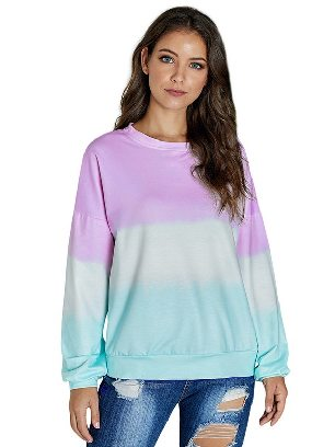 Purple Autumn Sweater Women Color Block Tie Dye Pullover Sweatshirt