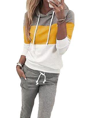 Yellow Women Long Sleeve Drawstring Colorblock Hooded Top & Pant Sweater Set