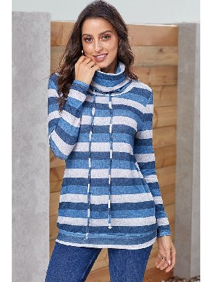 Black Multicolor Striped Long Sleeve Pullover Sweatshirt with Pockets