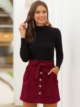 Wine red 2020 Fall winter Women High Waist Stretch Pocket A-line Skirt
