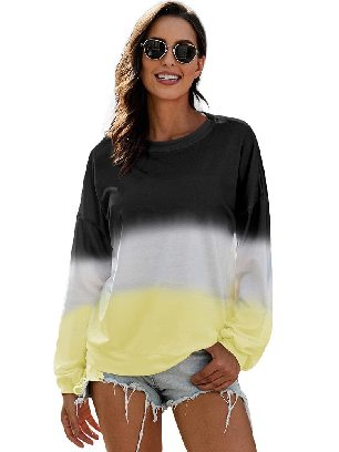 Black Autumn Sweater Women Color Block Tie Dye Pullover Sweatshirt