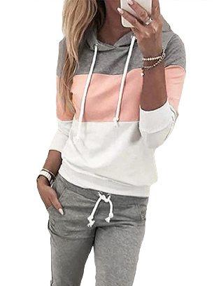 Pink Women Long Sleeve Drawstring Colorblock Hooded Top & Pant Sweater Set