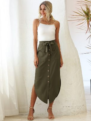 High Waist Ladies Lace Pocket Irregular Long Skirt