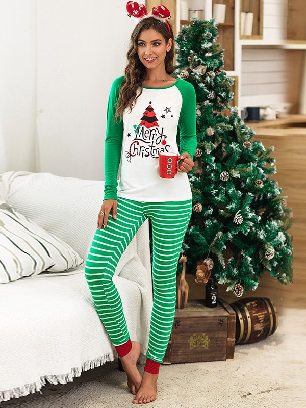 2020 Christmas Autumn/winter Two-piece Suit Letter Pattern Printing Home Wear