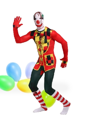 Colorful Clown Full Body Morph Costume Halloween Spandex Holiday Unisex Cosplay Zentai Suit