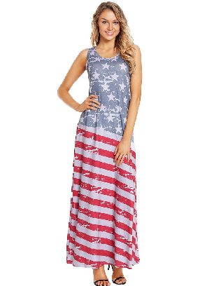 Supply American Flag Print Sleeveless Long Style Maxi Dress