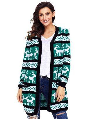 Knitted Sweater Reindeer Printing Geometric Christmas Loose Cardigan