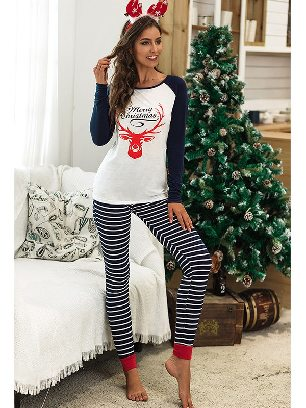 Navy blue 2020 Christmas Autumn/winter Two-piece Suit Letter Pattern Printing Home Wear