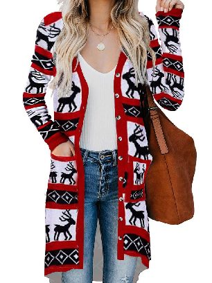 Red Mid-length Knitted Christmas Element Print Long Cardigan