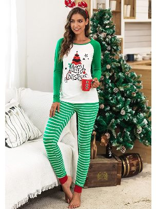 Green No. 1 2020 Christmas Autumn/winter Two-piece Suit Letter Pattern Printing Home Wear