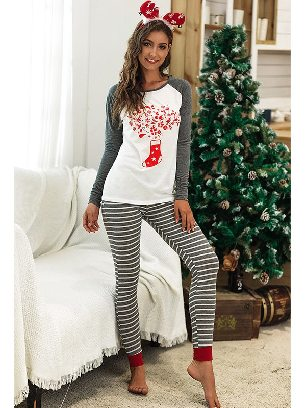 Gray 2020 Christmas Autumn/winter Two-piece Suit Letter Pattern Printing Home Wear