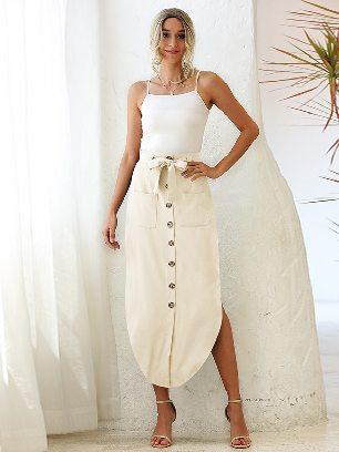 Apricot High Waist Ladies Lace Pocket Irregular Long Skirt