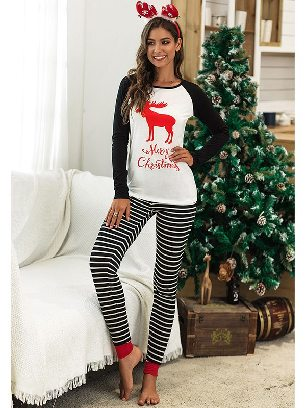 Black 2020 Christmas Autumn/winter Two-piece Suit Letter Pattern Printing Home Wear