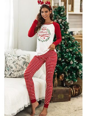 Red No. 1 2020 Christmas Autumn/winter Two-piece Suit Letter Pattern Printing Home Wear