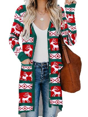 Green Mid-length Knitted Christmas Element Print Long Cardigan