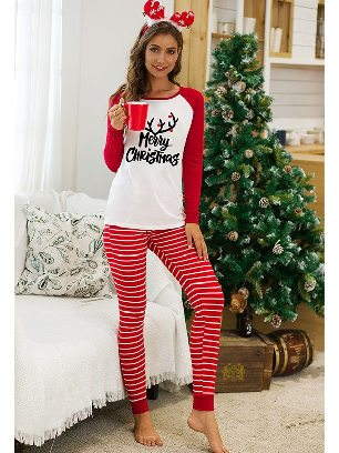Red No. 2 2020 Christmas Autumn/winter Two-piece Suit Letter Pattern Printing Home Wear