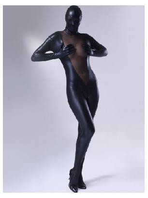 Black Zentai Costume Shiny Metallic Lycra Female Zentai Suit