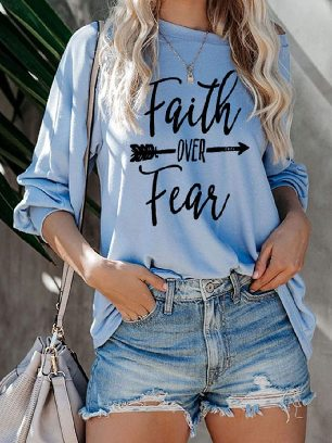 Supply Summer Loose Faith OVER Fear Letter Printing Shirt