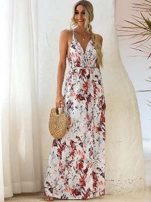 Printed Sling Slip Back Lace Irregular Long Maxi Dress