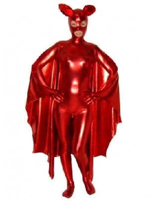 Red Zentai Costume Shiny Metallic Unisex Catsuit Party Costume with Mask and Cape